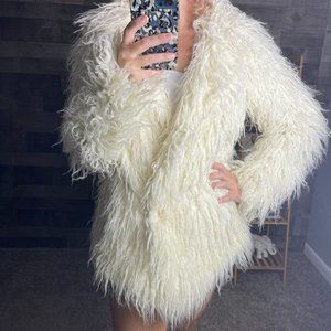 Free People Plaid Lined White Furry Coat
